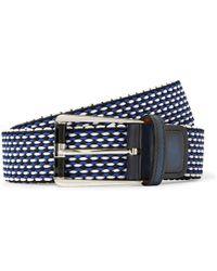 Berluti - 3cm Leather-trimmed Woven Cotton Belt - Lyst
