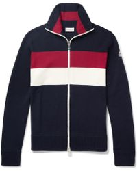 Moncler - Striped Virgin Wool-blend Zip-up Cardigan - Lyst