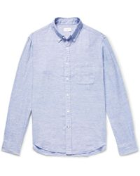 Club Monaco - Button-down Collar Slub Linen Shirt - Lyst