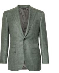 Thom Sweeney - Grey-green Wool, Silk And Linen-blend Blazer - Lyst