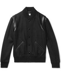 Saint Laurent - Teddy Leather-trimmed Wool Bomber Jacket - Lyst