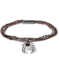Lanvin - Gunmetal-tone, Bead And Stone Wrap Bracelet - Lyst