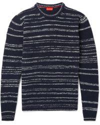 Isaia - Striped Slub Wool-blend Mock-neck Sweater - Lyst