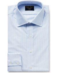 Emma Willis - Sky-blue Striped Cotton Oxford Shirt - Lyst
