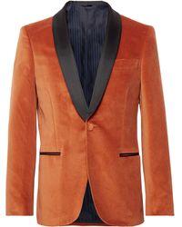 Mp Massimo Piombo - Burnt-orange Slim-fit Grosgrain-trimmed Cotton-velvet Blazer - Lyst