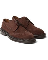 Etro - Leather-trimmed Suede Brogues - Lyst