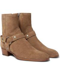 Saint Laurent - Wyatt Suede Harness Boots - Lyst