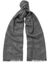 Loro Piana - Herringbone Cashmere And Silk-blend Scarf - Lyst
