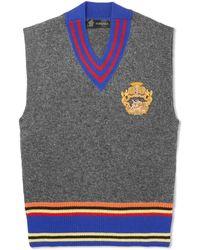 Versace - Appliquéd Striped Wool Sweater Vest - Lyst