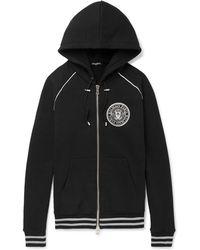 Balmain - Logo-print Cotton-jersey Zip-up Hoodie - Lyst