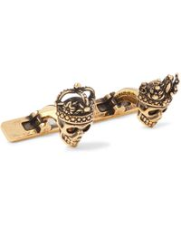Alexander McQueen - King And Queen Skull Burnished Gold-tone Cufflinks - Lyst