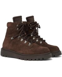 Moncler - Egide Shearling-lined Suede And Nylon Hiking Boots - Lyst