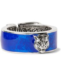 Gucci | Enamelled Sterling Silver Ring | Lyst