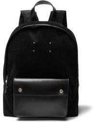 Maison Margiela - Corduroy And Leather Backpack - Lyst