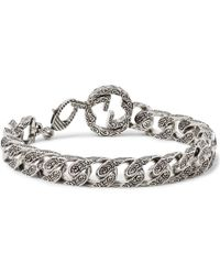 Gucci Rhodium Plated Chain Bracelet Lyst