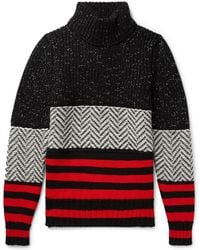 Burberry - 'brampton' Contrast Knit Wool-cashmere Blend Jumper Black - Lyst