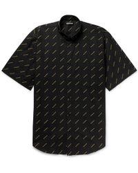Balenciaga - Oversized Button-down Collar Logo-print Cotton-poplin Shirt - Lyst