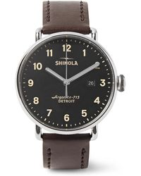 Shinola - The Canfield 43mm Stainless Steel And Leather Watch - Lyst