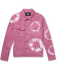 Stussy - Tie-dyed Denim Trucker Jacket - Lyst