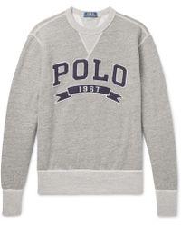Polo Ralph Lauren - Logo-appliquéd Mélange Fleece-back Cotton-jersey Sweatshirt - Lyst