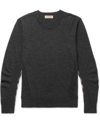 Burberry - Check-panelled Merino Wool Sweater - Lyst