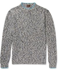 Altea - Mouline Contrast-tipped Mélange Knitted Sweater - Lyst