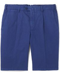 Loro Piana | Slim-fit Pleated Cotton And Linen-blend Bermuda Shorts | Lyst