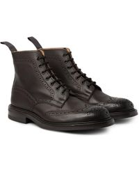 Tricker's - Stow Burnished-leather Brogue Boots - Lyst