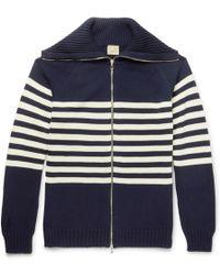 Wooster + Lardini   Striped Cotton Zip-up Cardigan   Lyst