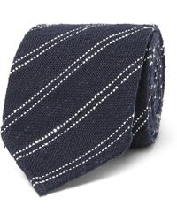 Thom Sweeney - 8cm Striped Silk And Cotton-blend Tie - Lyst
