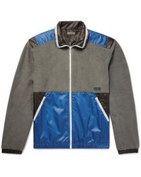 Lanvin - Panelled Cotton-fleece And Shell Jacket - Lyst