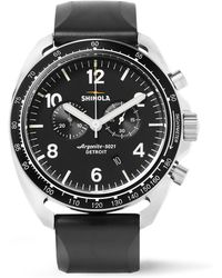 Shinola - The Rambler Tachymeter Chronograph 44mm Stainless Steel And Rubber Watch - Lyst