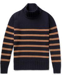 Universal Works - Striped Wool-blend Rollneck Jumper - Lyst