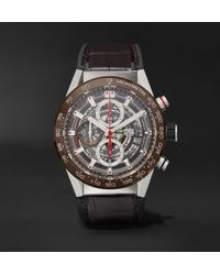 Tag Heuer - Carrera Automatic Chronograph 43mm Stainless Steel, Ceramic And Alligator Watch - Lyst