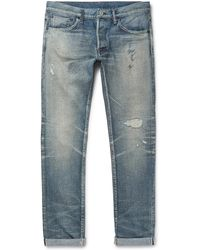 Fabric-Brand & Co. - Slim-fit Distressed Selvedge Denim Jeans - Lyst