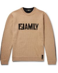Fendi - Logo-intarsia Virgin Wool Sweater - Lyst