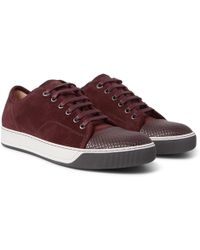 Lanvin - Cap-toe Suede And Embossed Leather Sneakers - Lyst