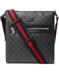 Gucci - Leather-trimmed Monogrammed Coated-canvas Messenger Bag - Lyst