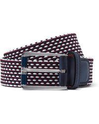 Berluti - Leather-trimmed Woven Cotton Belt - Lyst