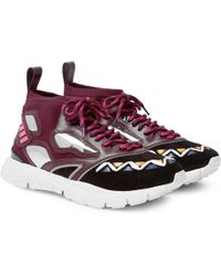 Garavani Heroes Tribe 1 Leather-trimmed Suede And Mesh Sneakers Valentino dNa18x99GT