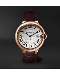 Cartier - Ballon Bleu De Automatic 42mm 18-karat Pink Gold And Alligator Watch - Lyst