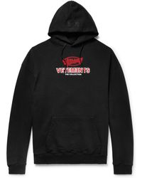 Vetements - Logo-printed Loopback Stretch Cotton-jersey Hoodie - Lyst