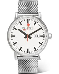 Mondaine - Evo Big Date Brushed Stainless Steel Watch - Lyst