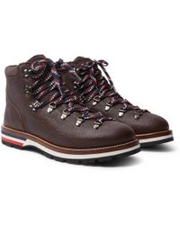 Moncler - Peak Pebble-grain Leather Hiking Boots - Lyst