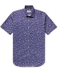 Canali - Printed Cotton-poplin Shirt - Lyst