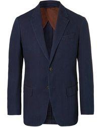 Ermenegildo Zegna - Indigo Slim-fit Unstructured Garment-dyed Cotton Suit Jacket - Lyst