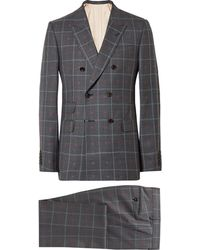 Gucci - Grey Slim-fit Embroidered Prince Of Wales Checked Wool And Cotton-blend Suit - Lyst
