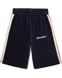 Palm Angels - Webbing-trimmed Logo-print Cotton-blend Corduroy Shorts - Lyst