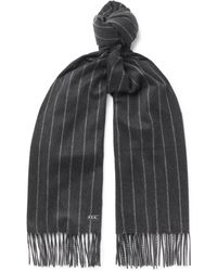Loro Piana - Striped Fringed Baby Cashmere Scarf - Lyst