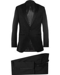 Hackett - Black Satin-trimmed Wool And Mohair-blend Tuxedo - Lyst